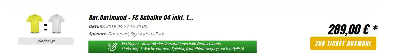 Screnshot Schalke Dortmund Derby Karten im Ruhrgebiet - ab 169,00€ Signal Iduna Park BVB Ticket