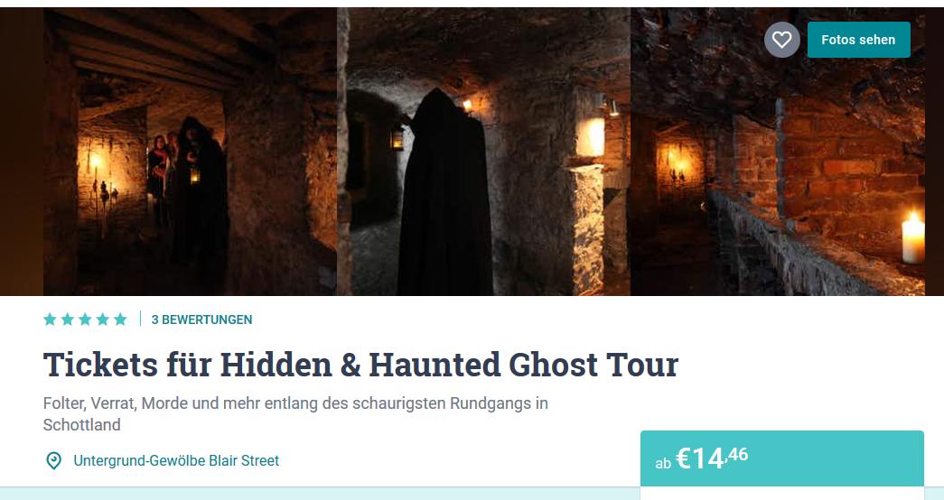 Ticket für Geister Tour in Edingburgh