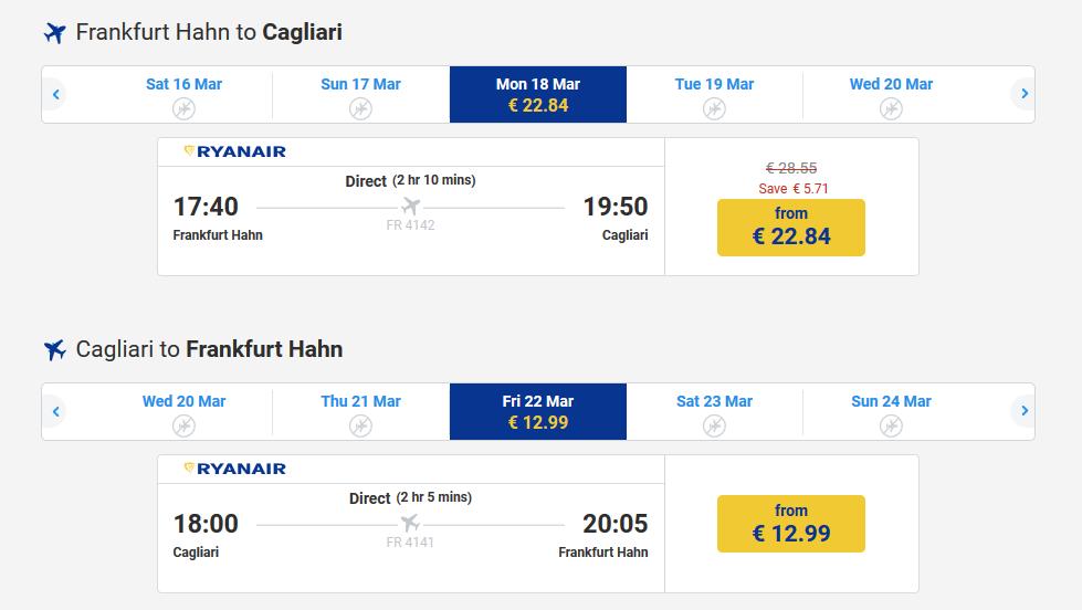 Beispiel Screenshot von Ryanair soviel zahlst du für die günstigsten Flüge Wunschflughafen eingeben und Deal finden!