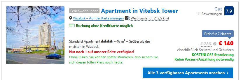 Booking Screenshot vom Apartment ab 10,00€ die Nacht pro Person basierend auf zwei