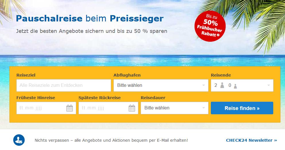 Check24 -Frühbucher 2019 Screenshot