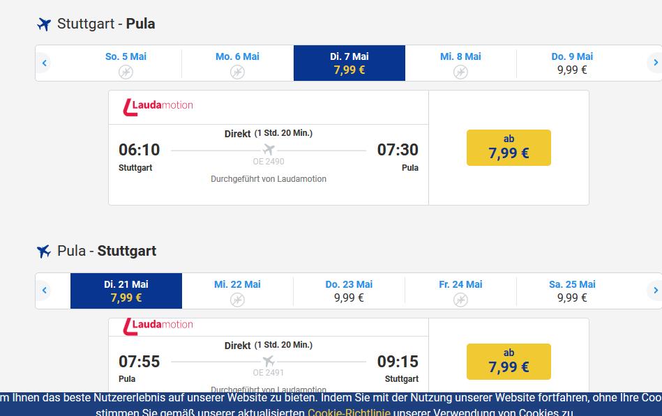 Flüge nach Istirien ab 7,99€ bei Laudamotion - Screenshot Ryanair