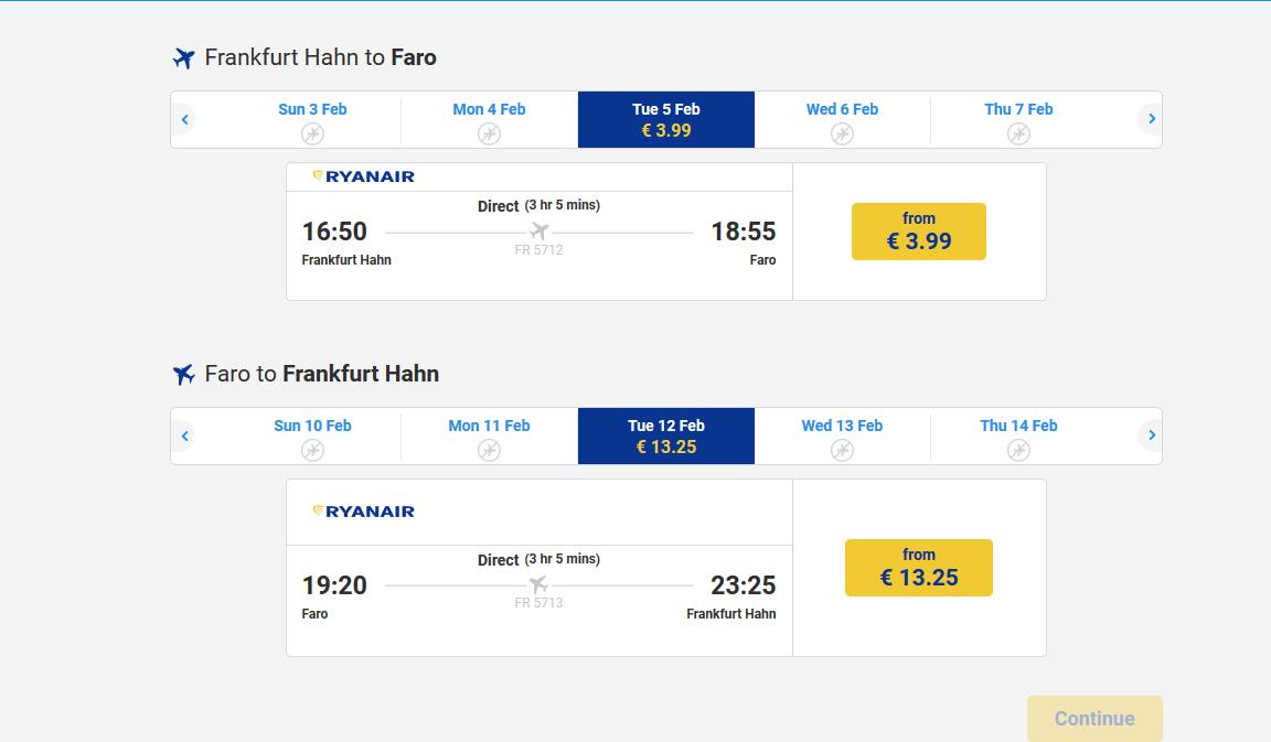 Flugbeispiel Screenshot von Ryanair ab Frankfurt Hahn