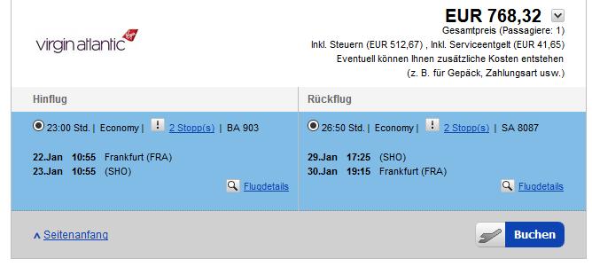 Flugbeispiel Wenn Ihr den Flug Sucht denkt dran die Kürzel SHO einzugeben für den Flughafen Manzini.- Screenshot