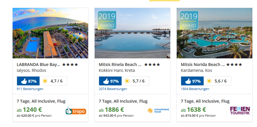 Frühbucher Urlaubsdeals findet Ihr bei Holidaycheck in Massen - Screenshot