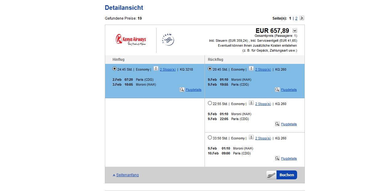 Günstigste Flug ab Paris (CDG) schon ab 657,89€ hin und Rückflug !