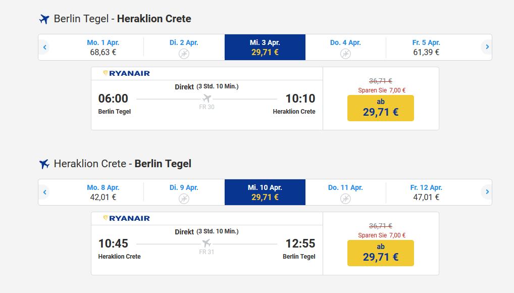 Hin und Rückflug nach Heraklion Crete unter 60,00€
