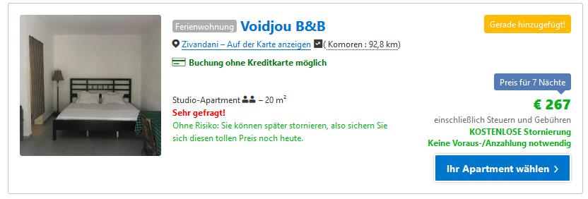 Hotel auf den Komoren günstig buchen ab 19,07€ die Nacht - Screenshot Booking
