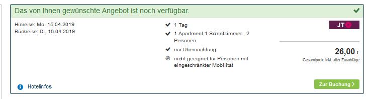 Hotels ab 13,00€ die Nacht basierend auf zwei Reisende - Screenshot