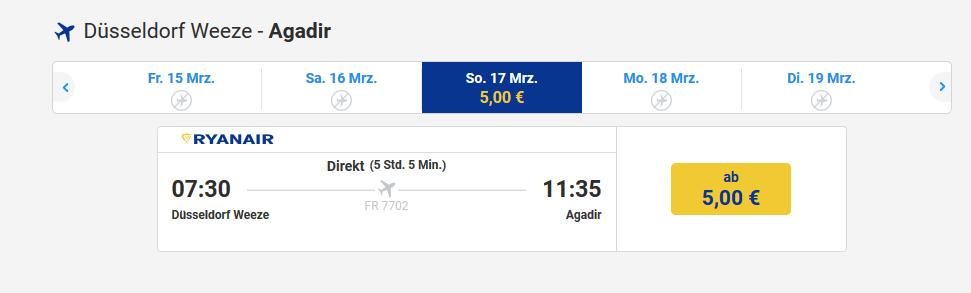 Marokko Agaidr Flüge schon billig ab 5,00€ Buchen