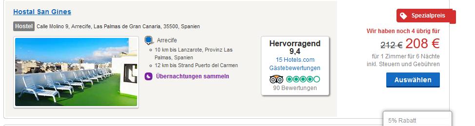 Mit diesem Beispiel zahlt Ihr 14,86€ die Nacht - Screenshot Hotels