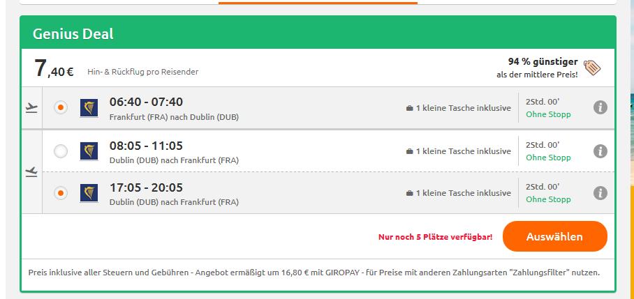 Opoodo Screenshot Flug ab 7,48
