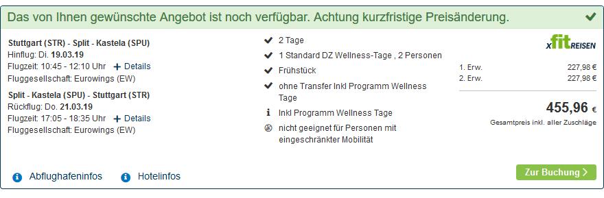 Pauschaldeal nach Mitteldalmatien ab 227,98€ pro Person