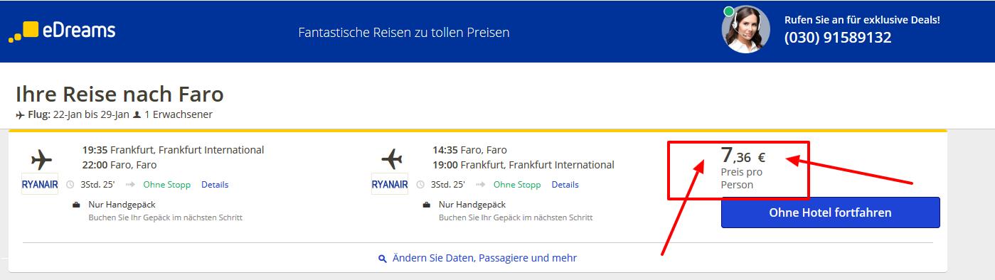 Portugal Flug nach Faro günstig ab 7,36€