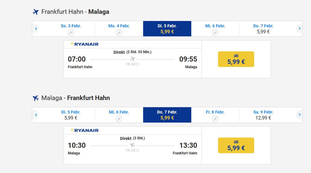 Ryanair Screenshot Flugbeispiel nach Malaga