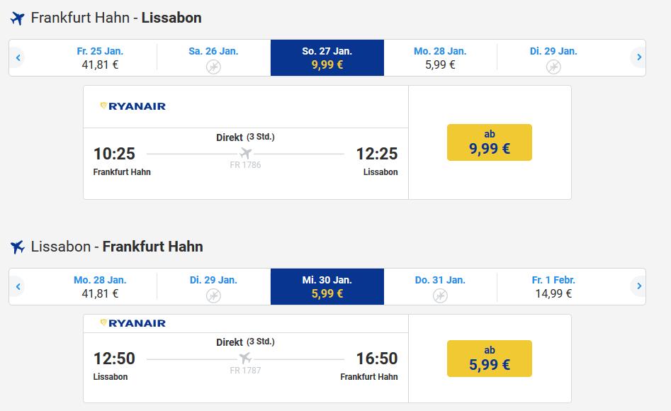 RyanairScreenshot Flugbeispiel Tracker Version