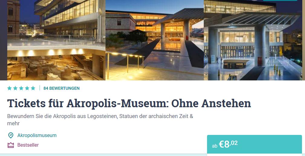 Screenshot Akropolis Museum Ticket günstig kaufen
