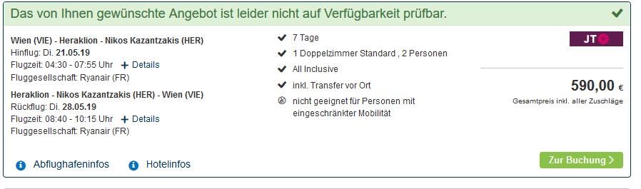 Screenshot Beispiel Deal für Kreta ab 295,00€ eine Woche All Inclusive inklusive Transfer vor Ort