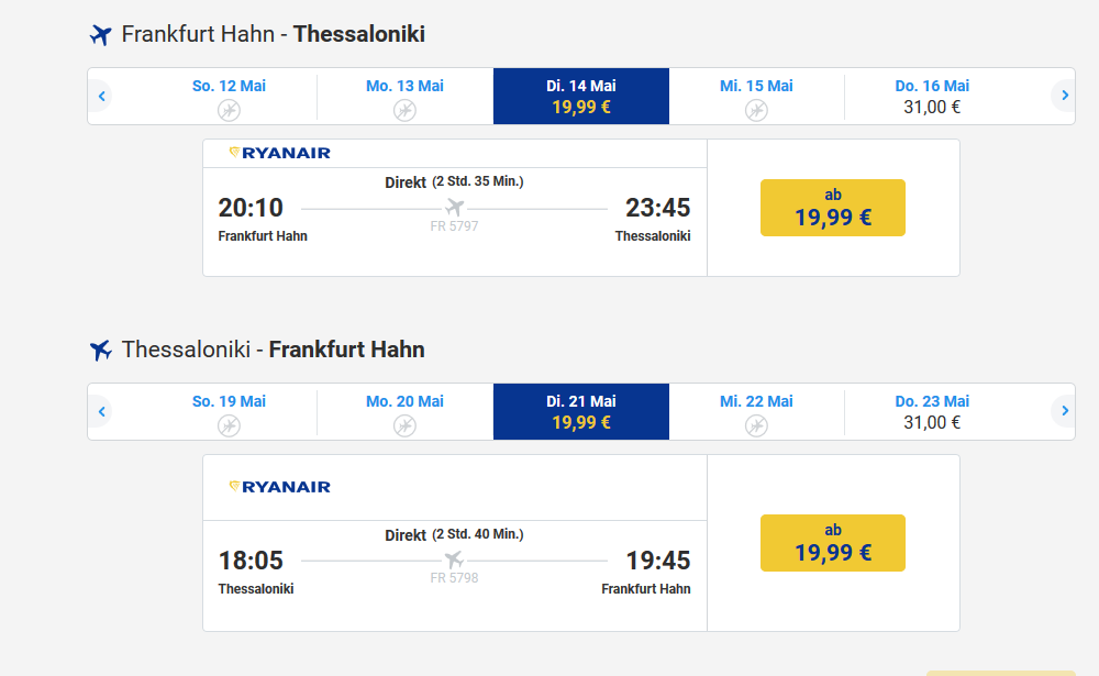 Screenshot Billig Flug dank Ryanair
