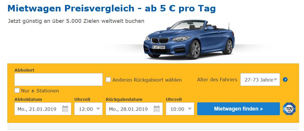 Screenshot Deal Check24 Mietwagen buchen ab 5,00€ pro Tag - Preisvergleich