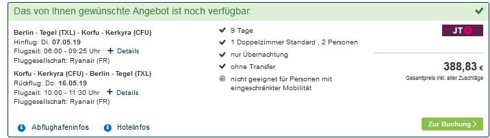 Screenshot Deal Last Minute Korfu Deal 9 Nächte schon günstig ab 194,41€