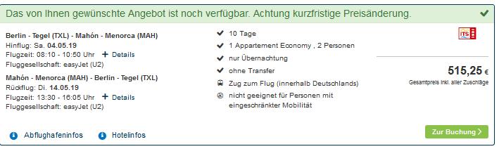 Screenshot Deal Last Minute Menorca buchen ab 254,00€ für 10 Nächte