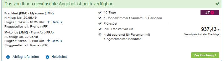 Screenshot Deal Last Minute Mykonos Urlaub 10 Nächte im 4 Sterne Hotel 468,72€