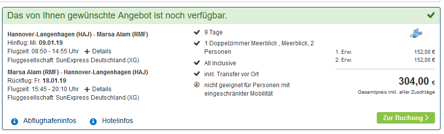 Screenshot Deal Nada Resort 3,5 Sterne 9 Tage ab 152,00€