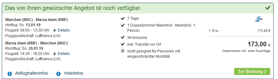 Screenshot Deal Single Strandurlaub in Ägypten - eine Woche All Inclusive günstig ab 173,00€