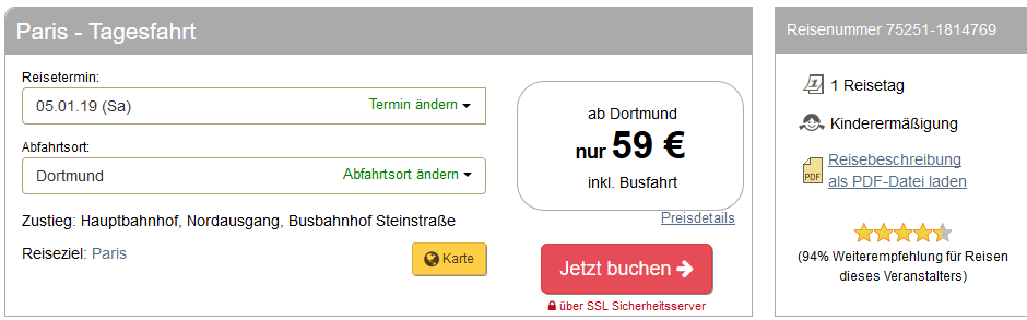 Screenshot Deal Tagesreise in Paris günsitg ab 59,00€ - Von NRW bis Paris