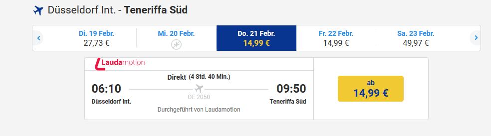 Screenshot Deal Teneriffa im Februar - Flüge ab 14,99€ bei Laudamotion buchen