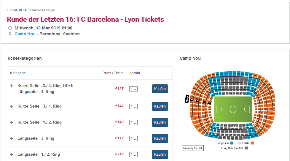 Screenshot Deal UEFA Tickets Barcelona Champions League - K.O Runden schon ab 137,00€