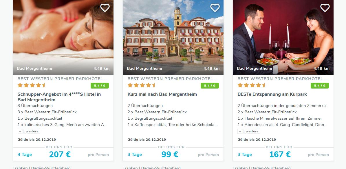 Screenshot Deal Wellness Deal Kurzurlaub Württemberger Weinstraße 3 Tage ab 99,00€