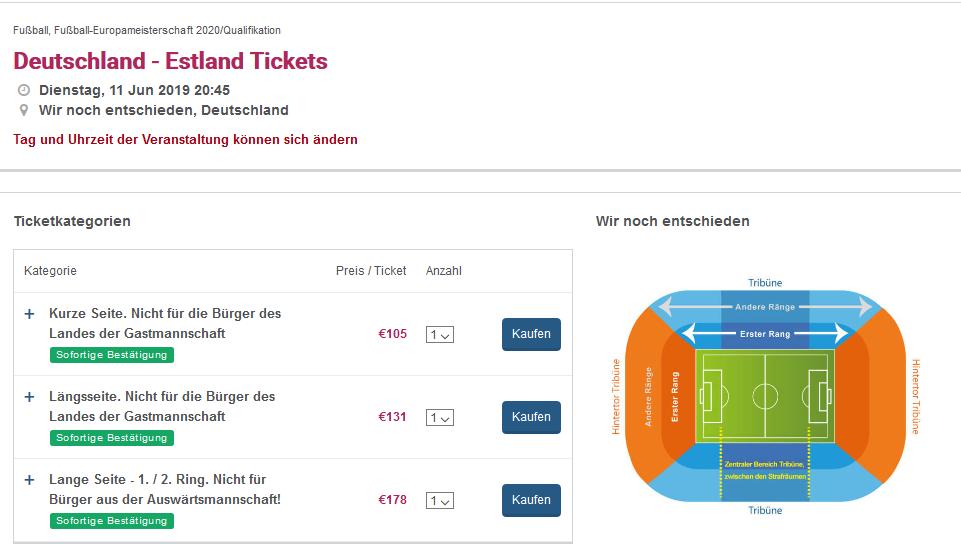 Screenshot Deutschland-Estland EM Quali Karten ab 105,00€ - Europameisterschaft