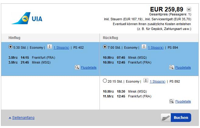 Screenshot Flugbeispiel günstig ab 259,89€
