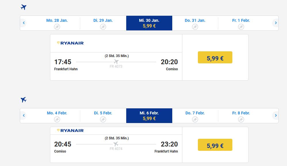 Screenshot Flugdeal nach Sizilien schon ab 5,99€