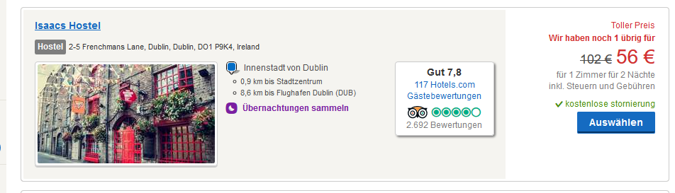 Screenshot Hotel Deal in Dublin