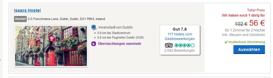Screenshot Hotel Deal in Dublin