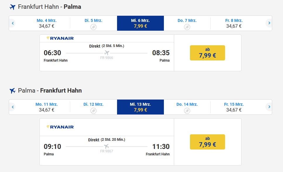 Screenshot Malledeals- Flug mit Ryanair