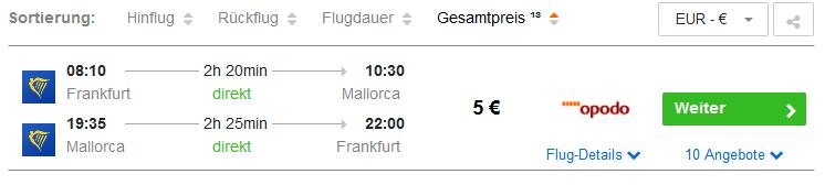 Screenshot Mallorca Deals Hin und Rückflug ab 5,00€ Hotels ab 13,00€