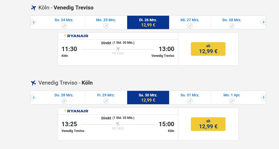 Screenshot Ryanair Flugdeal ab 12,99€ pro Weg Bsp. ab Köln