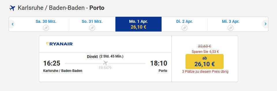 Screenshot Ryanair Porto in Portugal Urlaub machen Flüge ab 26,10€ Reisedeals & mehr