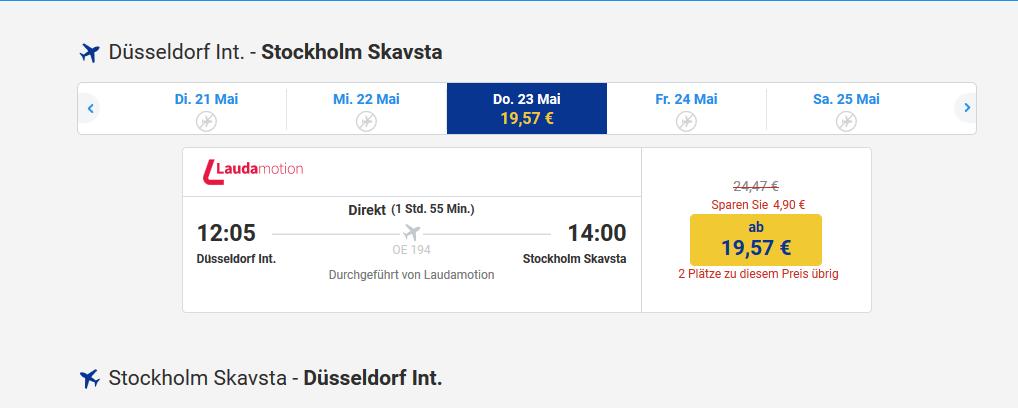 Screenshot Ryanair - Stockholm Reisetipps für deinen Städtetrip Flüge ab 19,57€ & mehr