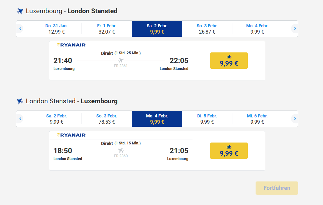 Screenshot Ryanair - Von Luxemburg nach London Flüge ab 9,99€ - Städtetrip