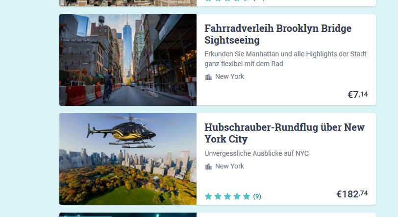 Screenshot Sightseeing Möglichkeiten & Mehr