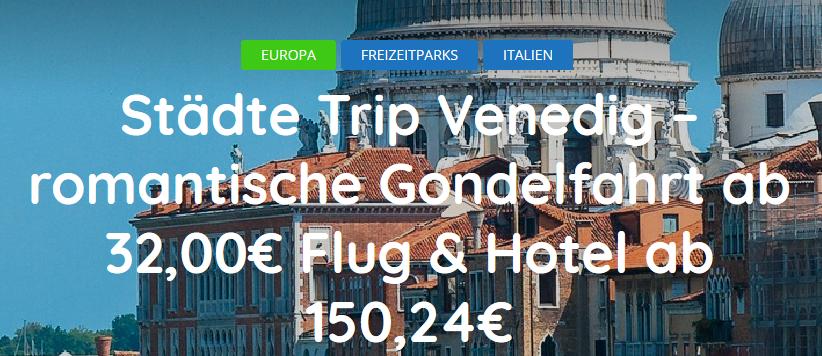 Screenshot Städtereise Venedig romantische Gondelfahrt ab 32 00€ Flug Hotel ab 150 24€