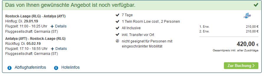 Screenshot Türkei Deal ab 210,00€ eine Woche Kumköy All Inclusive Urlaub