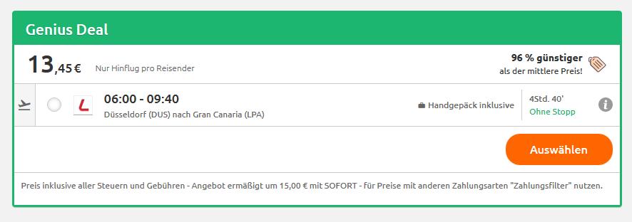 Screenshot günstige Flüge ab 13,45€