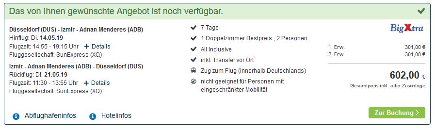 Screenshot vom Deal Kusadasi Hotel All Inclusive eine Woche bei BigXtra ab 301,00€