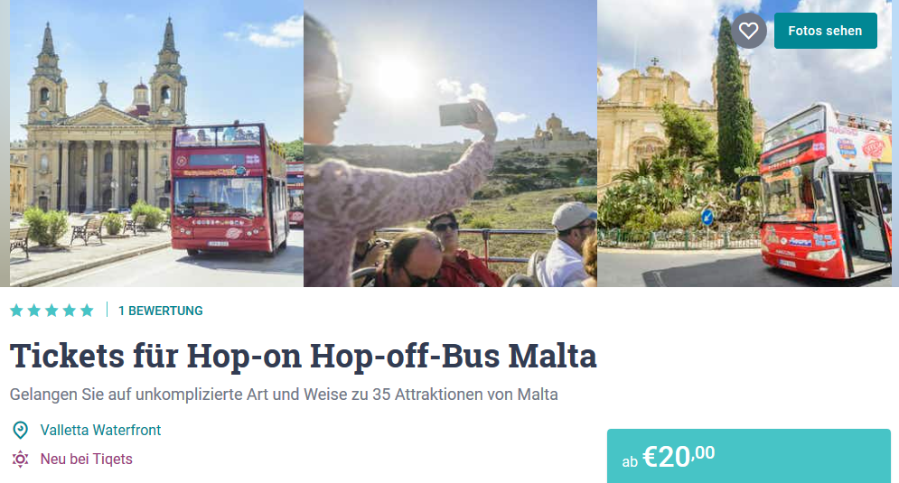 Tickets für den Hop on Hop off Bus Malta Tiqets